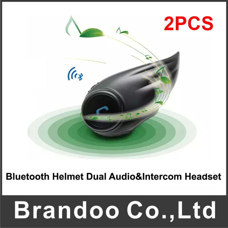 цена 2 pcs Interphone 800M Motorcycle Bluetooth Helmet Intercom headset for 2 Rider