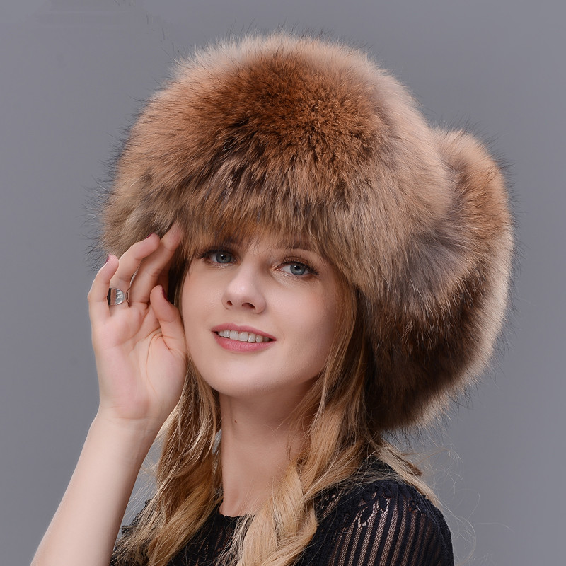 Thick Winter Real Natural Silver Fox Fur Raccoon Fur Cap Unisex Fur Hat Leather Cap Winter Ski Cap Lei Feng Hat Ear Warm denpal brand new fur hat style cloak fur hat real natural black mink fur hat for woman winter warm hat cap protection ear