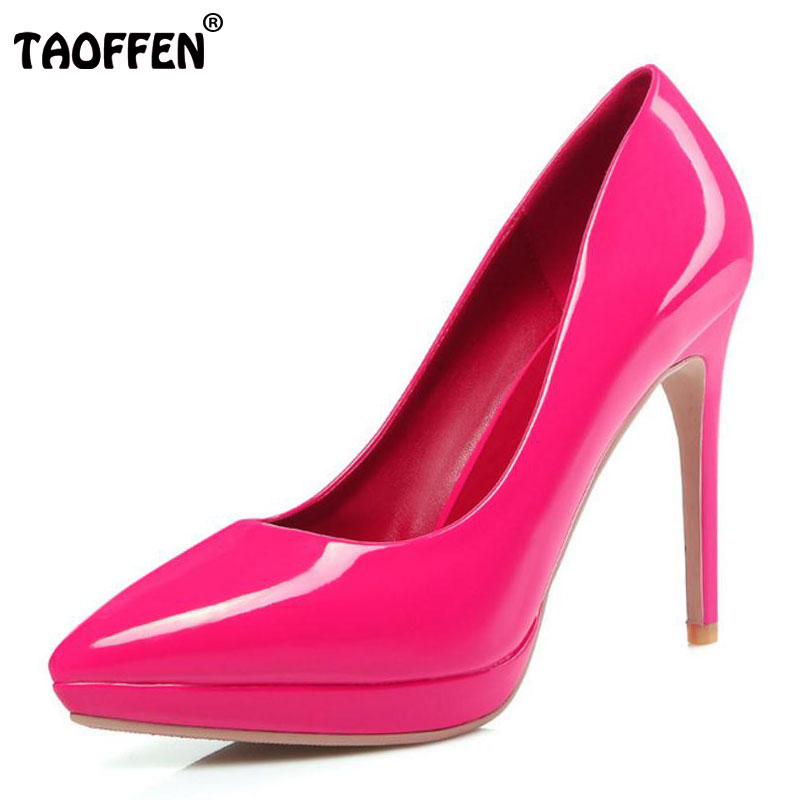 TAOFFEN Women High Heel Shoes Sexy Pointed Toe Thin Heels Pumps Ladies Wedding Party Shoes Platform Heels Shoes Size 34-39 women s high heels women pumps sexy bride party thin heel pointed toe sheepskin high heel shoes pule size 34 41