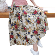 2017New Cotton Linen High Waist Pleated Skirt Printed Floral Women  Ankle-Length Skirt Chinese Style Spring Autumn Skirt 82203a54f602