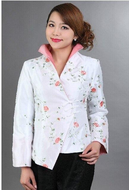 Новое поступление белый традиционной китайской женская одежда осень атласная пальто женщины вышивка цветок куртка sml XL XXL XXXL M-17