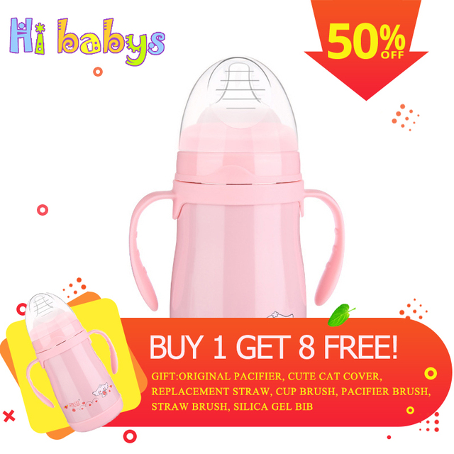 Baby Bottle Warmer Feeding Cup with Straw Portable Milk Travel Cup Multifunction Newborn Feeding Bottle Buy 1 Get 8 Free