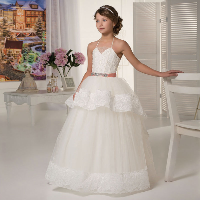 ᓂLong Flower Girls Dresses For Wedding Gowns Lace Glitz Pageant ...