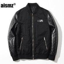 Aismz Fashion Men s Bomber Jacket Coat Male High Quality PU Leather Sleeve Air Force Windbreaker
