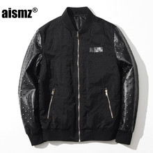 Aismz Fashion Men's Bomber Jacket Coat Male High Quality PU Leather Sleeve  Air Force Windbreaker Pilot Flight Jacket Black 8837