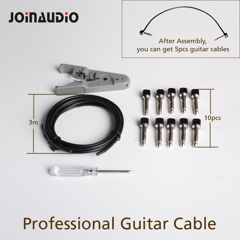 JOINAUDIO Solder free Pedal Board Copper DIY Guitar Cable Kit with Solderless 6 35 Mono Plugs