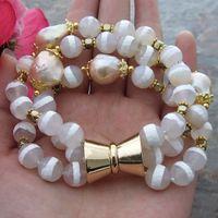 FC113015 8 3 Strands Pink Keshi Pearl Stone Bracelet