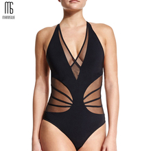 2018 Summer New One Piece Transparent Lace Swimsuit  Sexy Black Backless Mesh Bandage Large Bust Swimwear Brazilian Bathing Suit