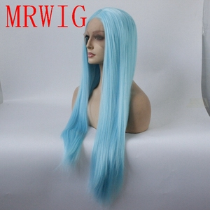 Image 3 - MRWIG Straight Synthetic Lace Front Wig Long Light Blue Hair Heat Resistant Middle Part 150%