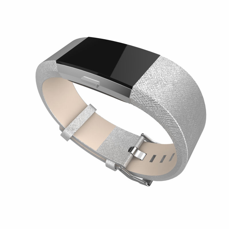 For Fitbit charge 2 bands leather,Accessories Leather Bands strap for Fitbit Charge 2,Fits 5.9-8.1 inch Wrist Silver color ...