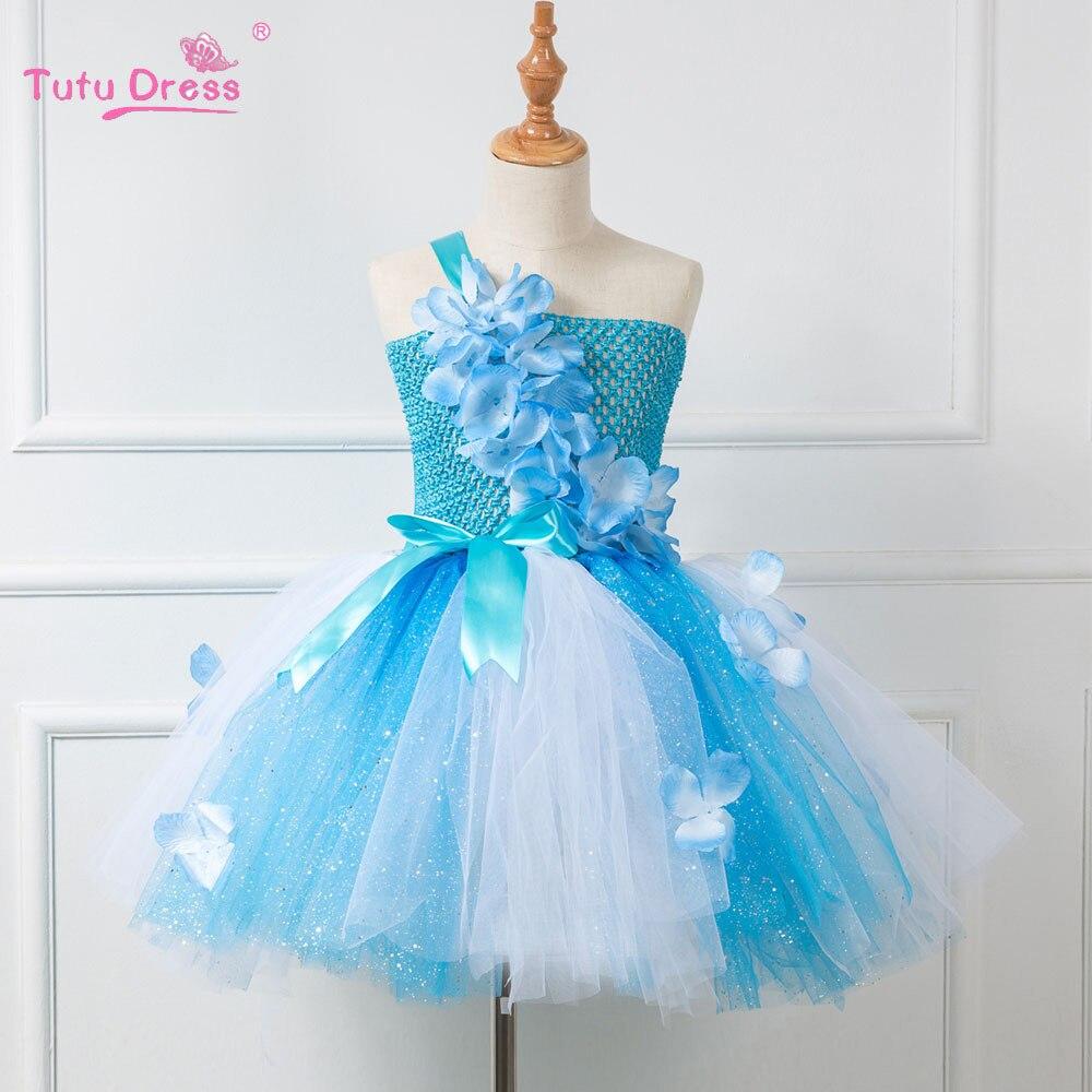 Baby Girl Summer Wedding Dress Elegant Blue Flowers Girls Birthday Party  Dresses Children Kids Tutu Costume - aliexpress.com - imall.com 25966507e849