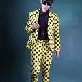 Nieuwe Geel zwart golf punt 2 Stuks pak Set Mannen slim Koreaanse haar stylist nachtclub mannelijke toevallige Blazer Podium prestaties kostuum