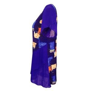 Image 2 - נשים חולצות וחולצות עניבה לצבוע בוהמי הדפסת שכבות שיפון נשי חולצות קיץ קצר שרוול טוניקת H227