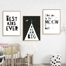 Big Dream Canvas Painting Black White Minimalist Nordic Posters Wall Art Picture for Nursery Kids Rooms Unframed Drop Shipping