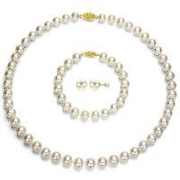 Бесплатная доставка Очаровательные jew.656 DaVonna желтый бело золотые Круглый Akoya Ювелирные изделия из жемчуга (7.5 8 мм)