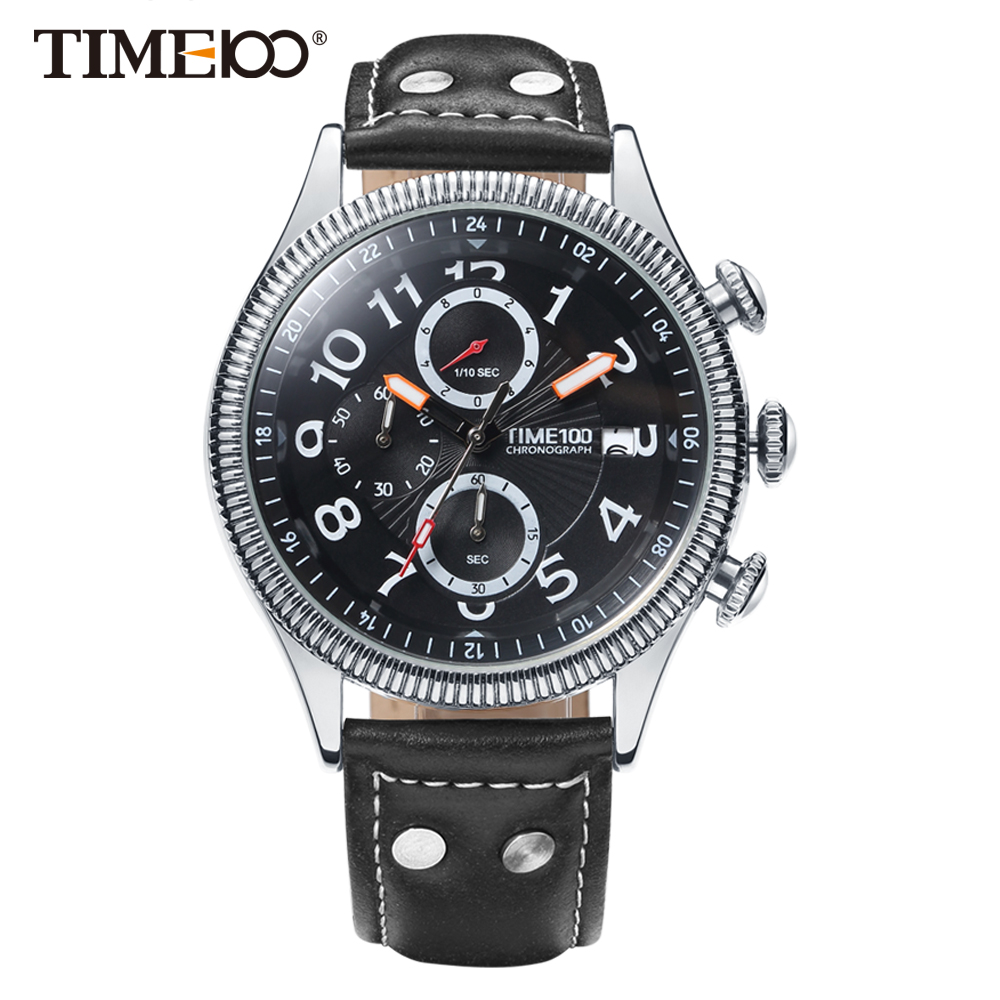 Time100 Fashion Watch Men Multifunction Leather Strap men Quartz Watches Calendar Auto Date Business Casual Wrist Watches 2018 time100 women watches chronograph diamond auto date sport leather strap casual quartz wrist watches for women relojes mujer