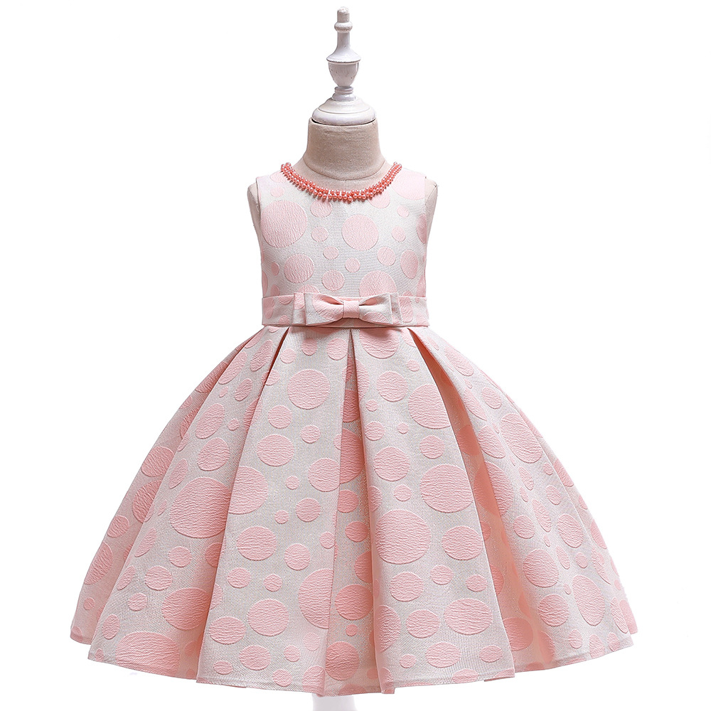 Simple A-Line Lingth Pink Print Formal Party   Girls   Gowns with Pearls Short Satin   Flower     Girl     Dresses   for Wedding 2019