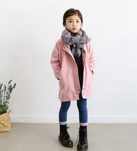 female child windproof overcoat medium long spring and autumn child trench outerwear jacket