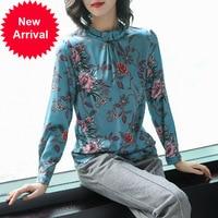Наивысшее качество 2019 Весна новый роскошный мода тяжелый натуральный шелк рубашка блузка P7916 Camisa Feminina сексуальные блузки