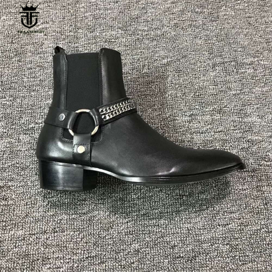 2018 Real Picture Customize Handmade Genuine Leather Buckle Strap With Chain Wedge Chelsea Men Boots Designer Luxury wyatt Boots real picture luxury handmade classical wyatt homme harness high top chelsea men boots wedge real cow leather suede boots