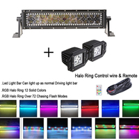 13 5 72W Led Light Bar 2x Flush Mount Pods With RGB Angel Eyes Halo Ring