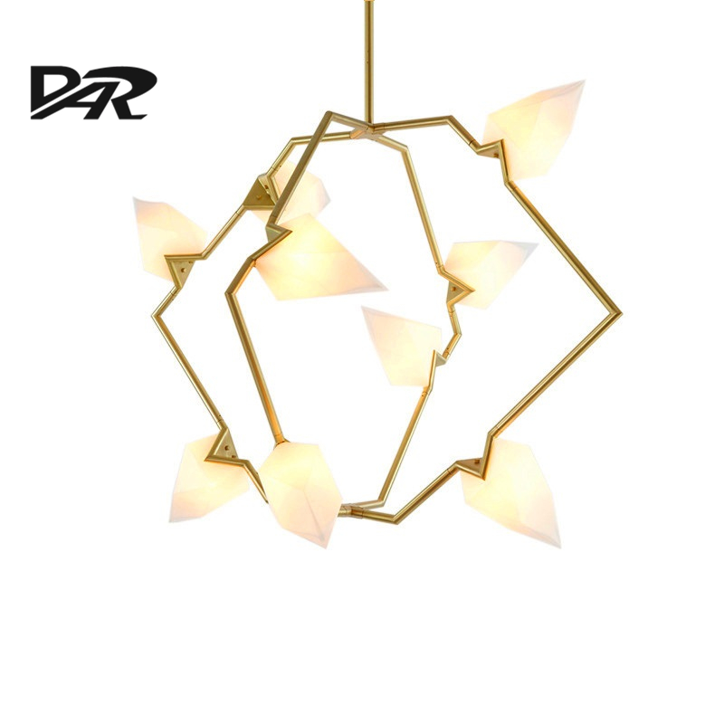 Creative Seed Chandelier Lighting Glass Shade Black Gold Branch Lamp 2/5/9 Heads G9 AC 90-260V Art Deco LED Pendant Chandeliers