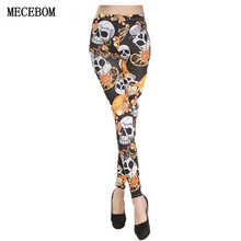 MECEBOM 2017 Women 8 colors adventure time punk rock Harajuku black milk push up fitness sexy 3d print Skull lady women leggings