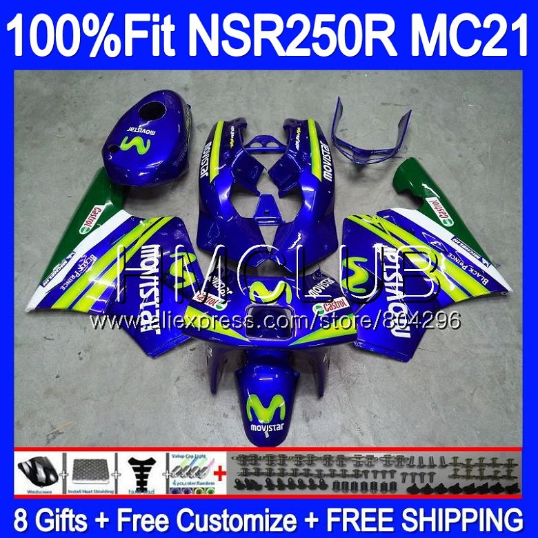 Injection For HONDA <font><b>NSR</b></font> <font><b>250</b></font> R MC21 PGM3 NSR250R 90 91 92 93 94HM.17 NSR250 R NSR250RR 1990 1991 1992 1993 Fairings Movistar Blue image