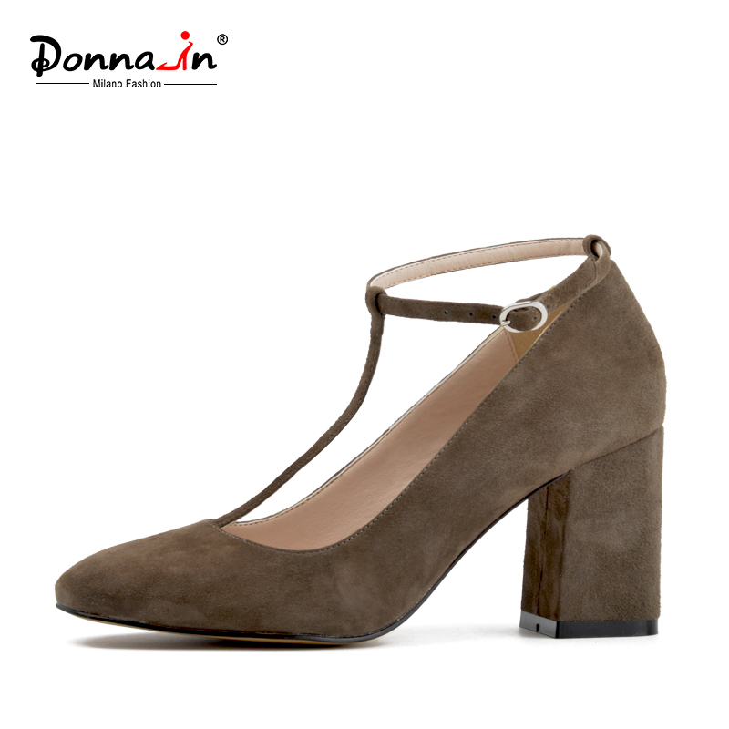 Donna-in Genuine Leather Mary Janes Pumps Square Toe Thick High Heel Buckle Fashion Elegant Women Shoes Black Pink Grey Blue