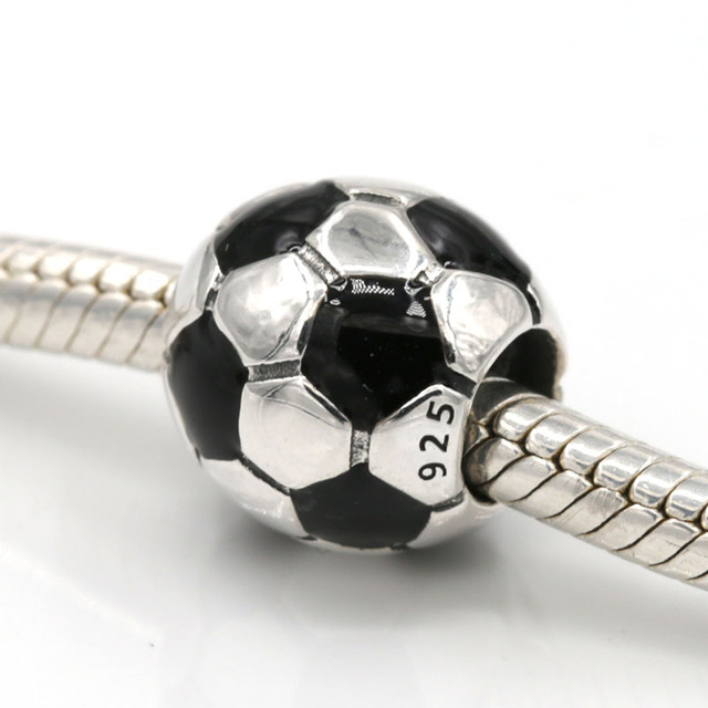 Original 925 Sterling Silver Black Enamel Football Charm Soccer Beads Fits Pandora Bracelets Diy Jewelry Charms