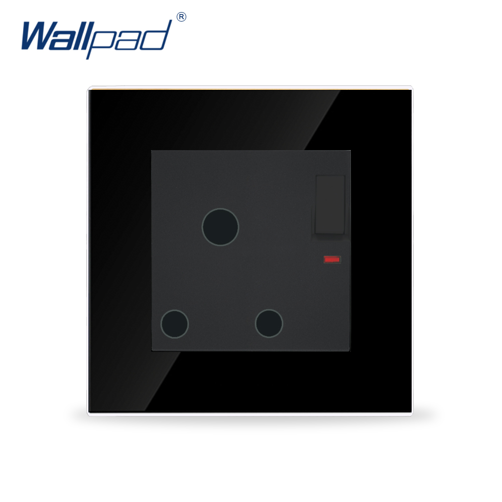 Wallpad 15A/16A UK Switched Socket Luxury Black Crystal Glass Switch and 15A/16A UK South Africa Wall Socket, Free ShippingWallpad 15A/16A UK Switched Socket Luxury Black Crystal Glass Switch and 15A/16A UK South Africa Wall Socket, Free Shipping