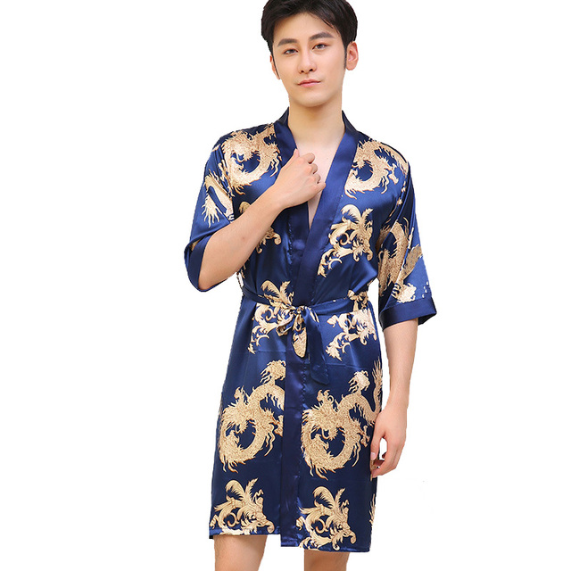 Chinese Vintage Men\'s Robe Casual Sleepwear Satin Rayon Nightwear ...