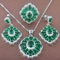 Gorgeous Green  Stone Women's Stamped   925 Sterling Silver Jewelry Sets Necklace Pendant Earrings Rings Free Shipping TZ057