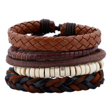 4 Pcs Vintage Multilayer Pu Leather Cuff Beads Bracelets For Male/Female