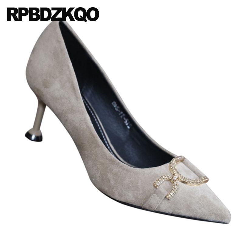 Diamant Beige Marque Daim Talons Taille 4 noir Beige En Cristal Moyen Chaussures Bout bleu 2018 34 Bleu Pointu Strass Piste Européenne Femmes Noir Mince TwPqOZq