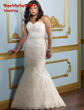 BacklakeGirls 2017 Satin Pattern Custom Made Sweetheart Neck Lace Beaded Mermaid Plus Size Wedding Dresses