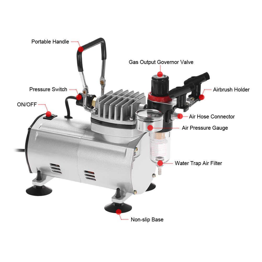 Kkmoon novo profissional 3 airbrush kit com compressor de ar dupla-ação hobby spray conjunto de escova de ar tatuagem pintura da arte do prego