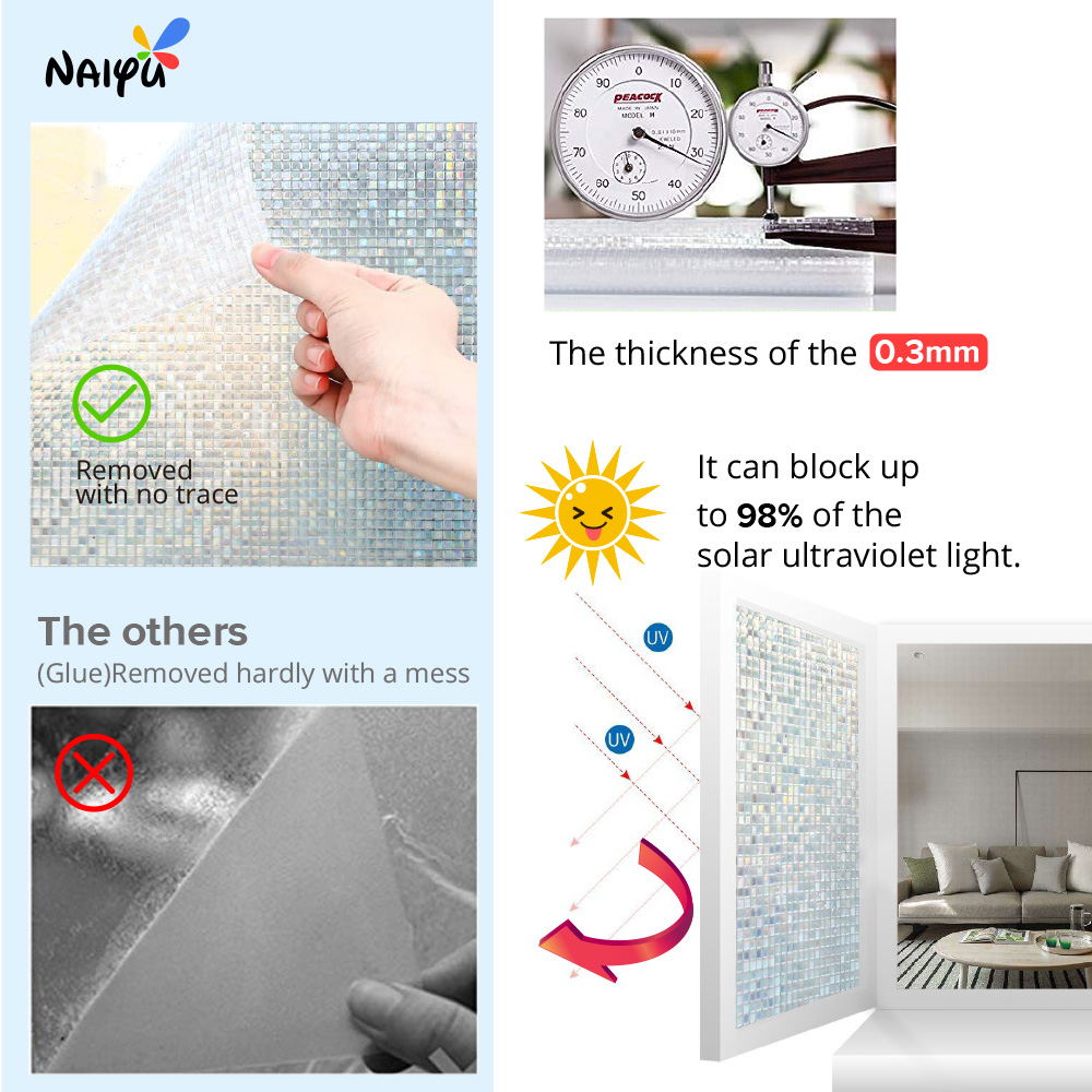 0 3mm Pvc Grid pattern Heat Insulation Opaque Explosion proof Glass Films No glue 3d Static Cling Decorative Sticker Window Film in Decorative Films from Home Garden