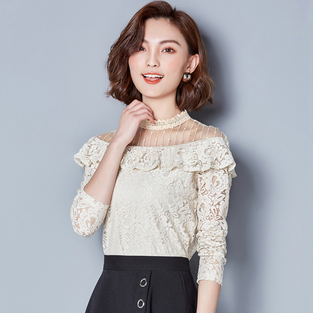 New Hollow Out 2020 New V-neck Female Blouses shirt Casual black shirt tops Sexy Long sleeve Women Lace blouses blusa 661F 2