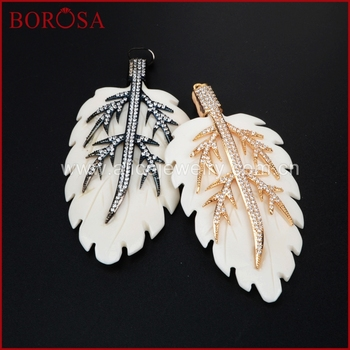 BOROSA Wholesale Fashion Ox Bone Pendant Leaf Pendant Micro Pave Gold/Black Plating Druzy Pendant Beads for Women Jewely WX339 фото