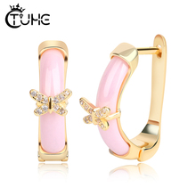 Unique Butterfly Gold Stud Earrings Women Fashion Jewelry 585 Micro Wax Inlay Natural Zircon Ceramic Pink