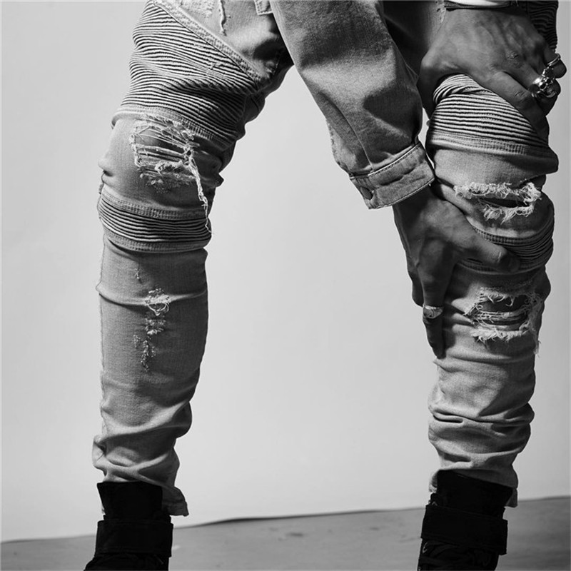 2017 New Fashion Men Jeans Denim Pencil Pants Slim Punk Hole Distressed Frayed Biker Jeans Brief Male Trousers Vintage Plus Size new men denim jeans pants scratched patchwork hole beggar trousers fashion straight slim casual vintage mens distressed pants