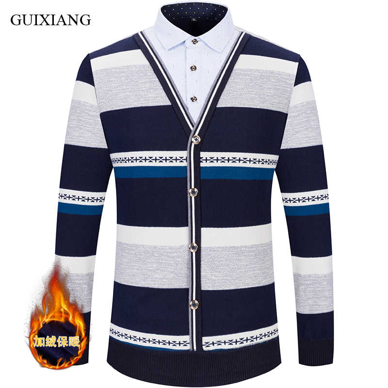 Baru Gaya Pria Boutique Leisure Sweater Fashion Kasual Dua Palsu Potongan Shirt Sweater Pria Kasmir Stripe Sweater L-4XL