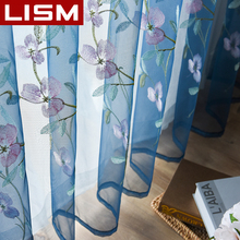 Embroidered Floral Tulle Sheer Curtain For Living Room Bedroom Kitchen Window Pastoral Tulle Curtains Voile Fabric Drapes LISM floral curtain for living room print voile for window bedroom linen curtain blackout drapes kitchen treatment pastoral x513 30