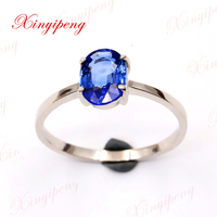 Xinyipeng18K White gold inlaid natural sapphire ring style beautiful women model
