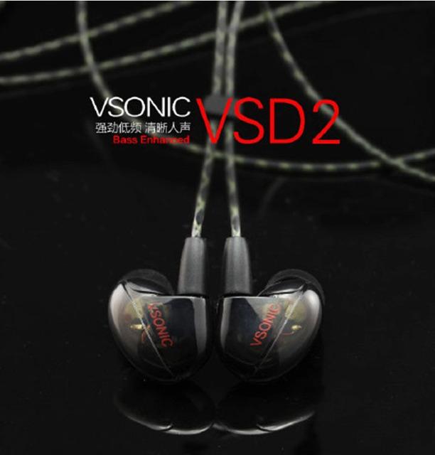 100% original vsonic nuevo lanzamiento vsd2 dinámico 3.5mm de alta fidelidad de sonido-aislamiento de entusiastas de la música en la oreja bajo pesado