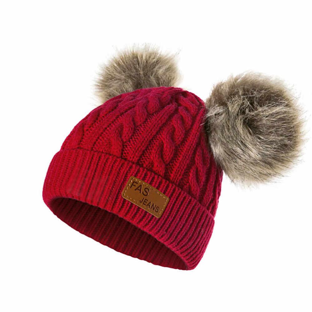 หมวกฤดูหนาวเด็กนุ่มอุ่นคู่ลูกหมวกขนสัตว์ Twist ผ้าขนสัตว์เด็กถักหมวก Elasticity หมวกฤดูใบไม้ร่วงสำหรับเด็ก 2019