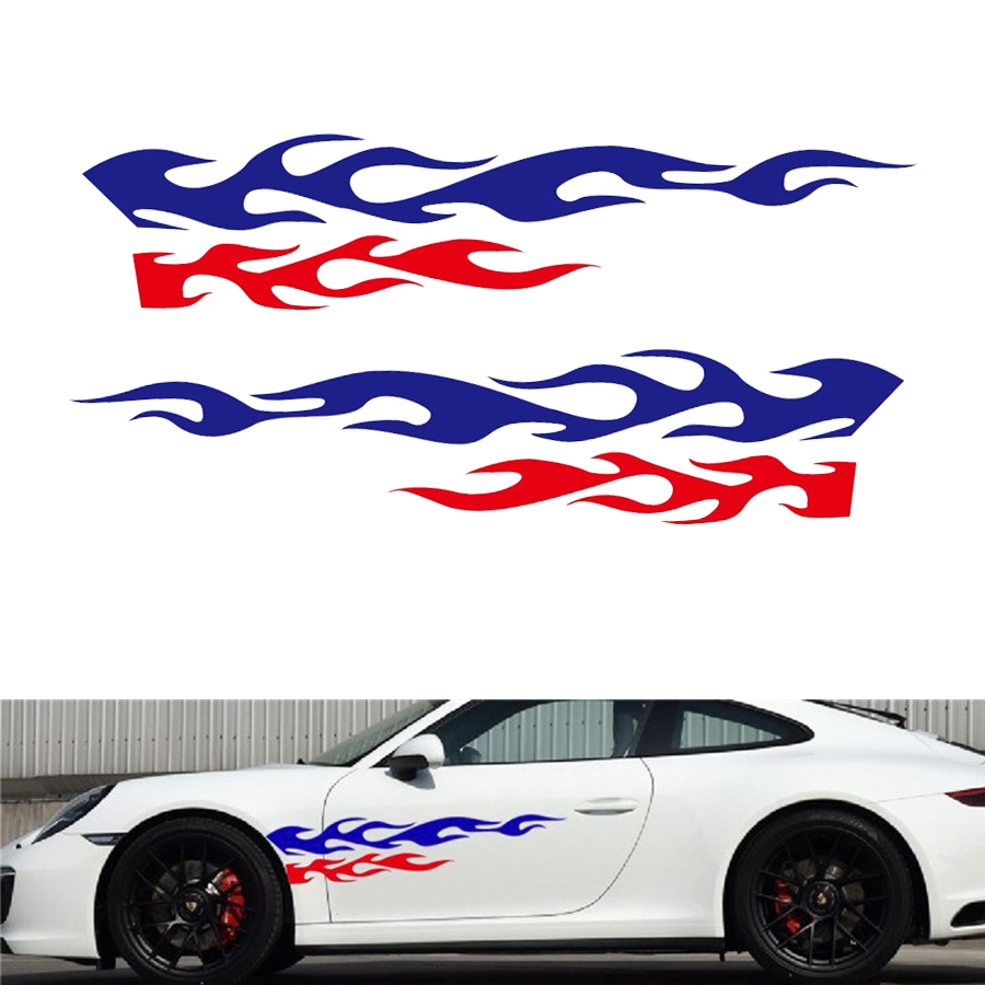 2Pcs Universal Racing Car SUV Side Body Flame Wheel Stripe Pattern Decal Sticker