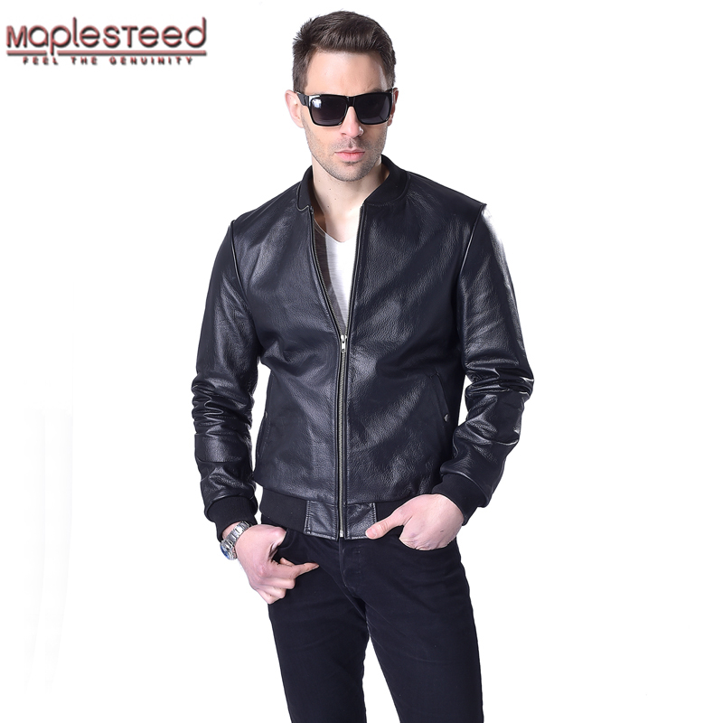 MAPLESTEED Men Genuine Leather Jacket 100% Real Cowhide Sheepskin Black Short Men's Leather Coat Spring Autumn Male Jaqueta M052