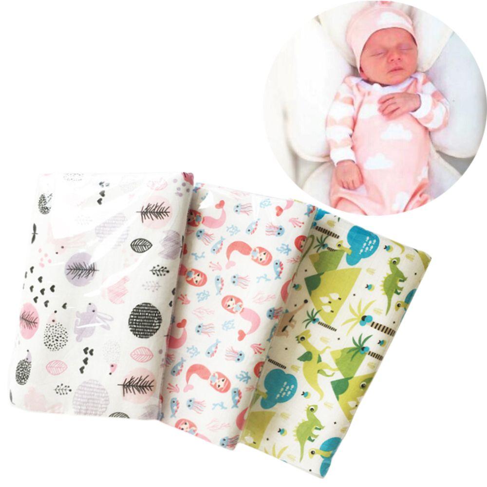 1 StÜck Beliebte Neugeborenen Weiche Atmungsaktive Musselin Decke Baby Swaddle Cartoon Gedruckt Baumwolle Multi-verwendung Decke Bettwäsche Wrap Gut FüR Energie Und Die Milz